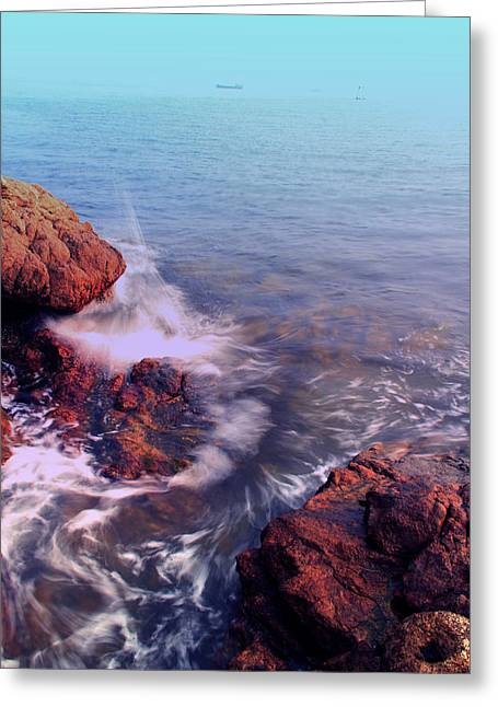 China Beach Greeting Cards - Listening Greeting Card by Janet Pancho Gupta