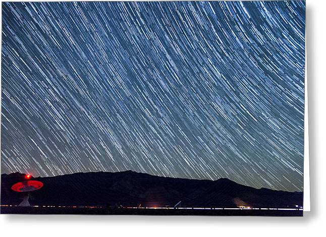 Startrails Greeting Cards - Listening to the Stars Greeting Card by Cat Connor