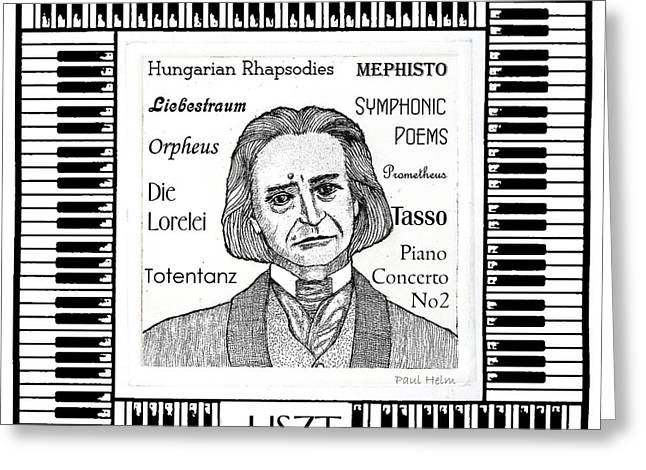 Pianist Mixed Media Greeting Cards - Liszt Greeting Card by Paul Helm