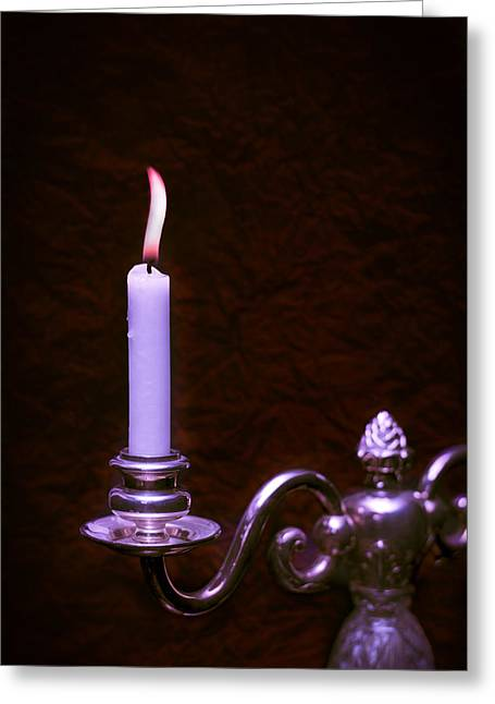 Candelabra Greeting Cards - Lit Candle Greeting Card by Amanda And Christopher Elwell