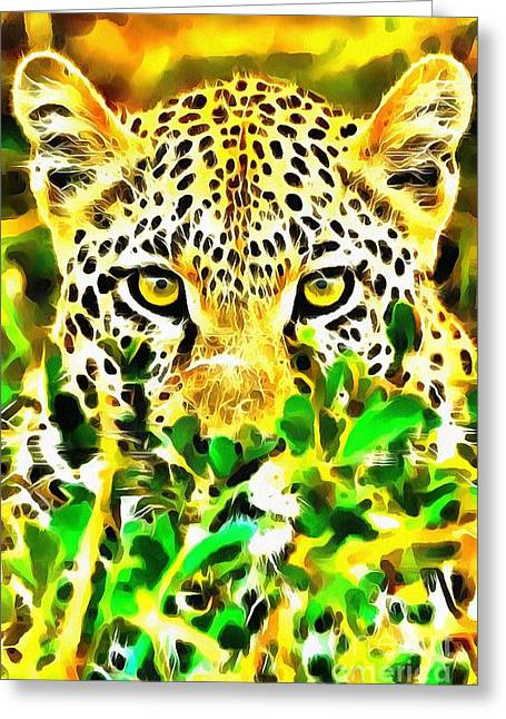 The Tiger Greeting Cards - Lit Leopard Greeting Card by Catherine Lott