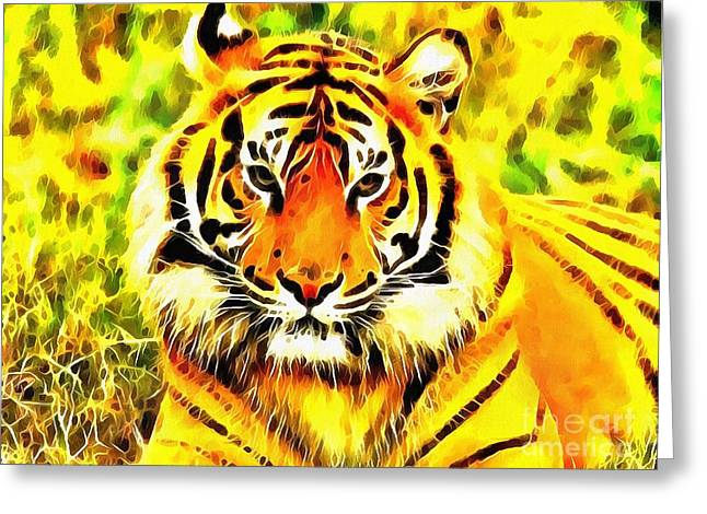 The Tiger Greeting Cards - Lit Tiger In The Grass Greeting Card by Catherine Lott