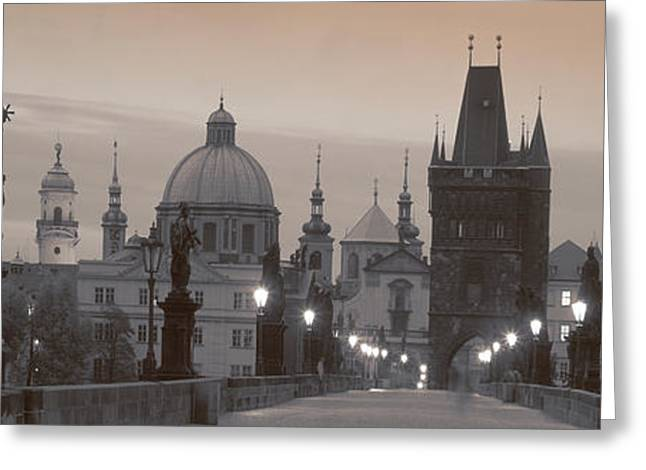 Lit Up Bridge At Dusk, Charles Bridge Greeting Card by Panoramic Images