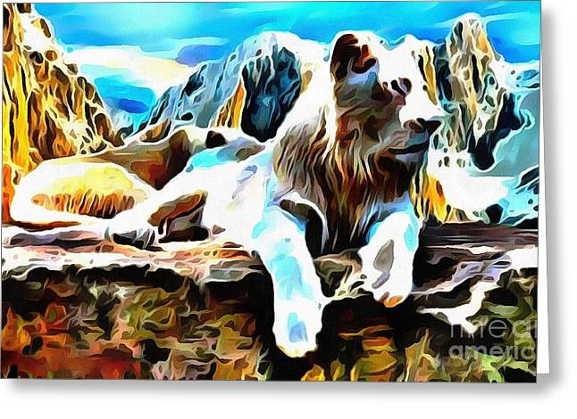 The Tiger Greeting Cards - Lit White Lion Greeting Card by Catherine Lott