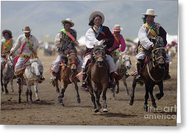 Tibetan Region Greeting Cards - Litang Horse Race - Kham Tibet Greeting Card by Craig Lovell