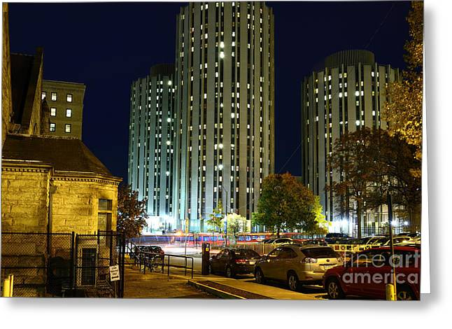 College Avenue Greeting Cards - Litchfield Towers at Night Greeting Card by Thomas R Fletcher