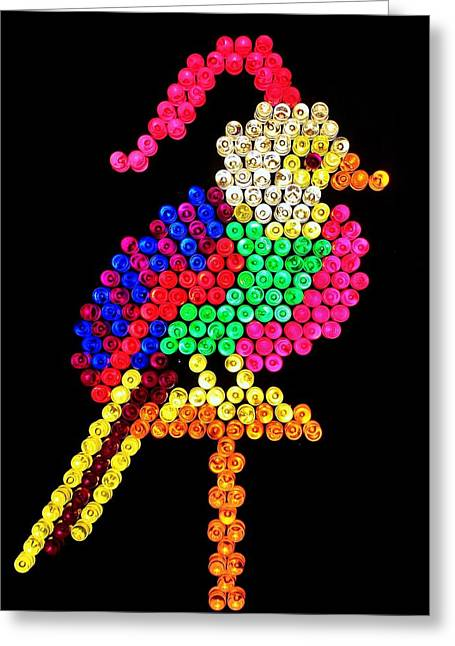 80s Greeting Cards - Lite Brite - Bird of Paradise Greeting Card by Benjamin Yeager