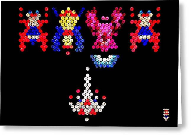 80s Greeting Cards - Lite Brite - Galaga Greeting Card by Benjamin Yeager