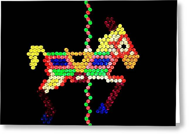 80s Greeting Cards - Lite Brite - The Carousel Pony Greeting Card by Benjamin Yeager