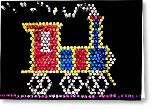 80s Greeting Cards - Lite Brite - The Choo-Choo Train Greeting Card by Benjamin Yeager