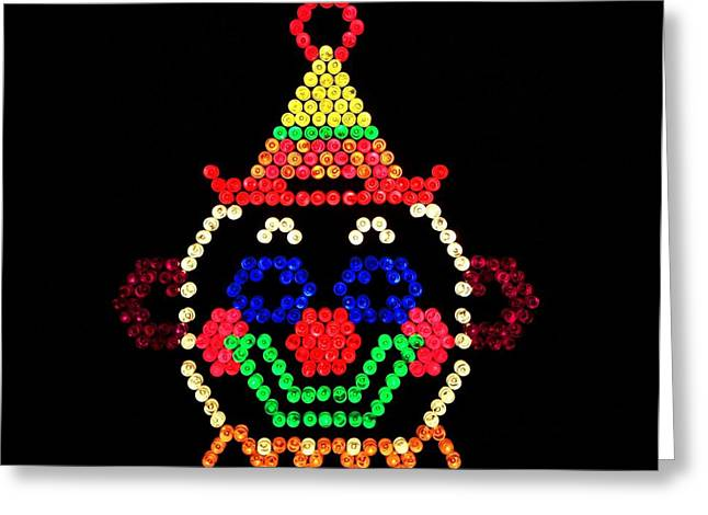 80s Greeting Cards - Lite Brite - The Classic Clown Greeting Card by Benjamin Yeager