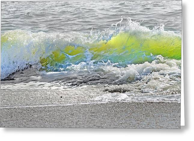 Blue Green Wave Greeting Cards - Literal Perception Greeting Card by Betsy A  Cutler