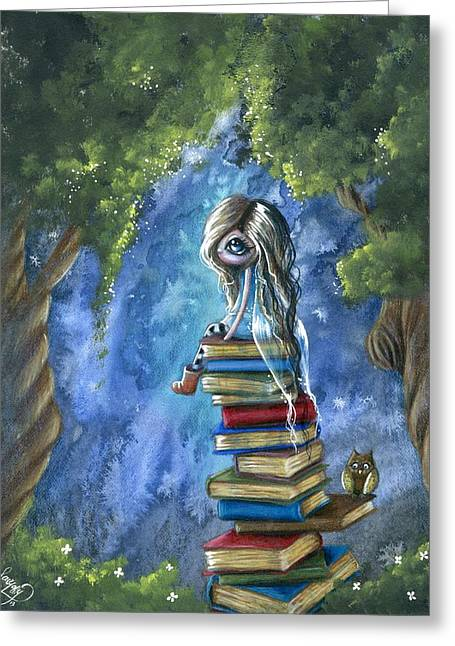 Whimsical Mixed Media Greeting Cards - Literary Dream Greeting Card by Sour Taffy