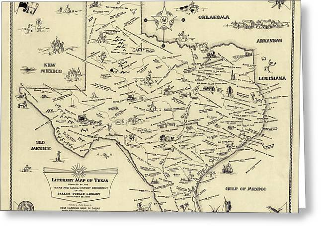 Fun Map Greeting Cards - Literary Map Of Texas 1955 Greeting Card by Daniel Hagerman