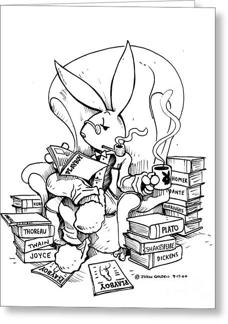 Playboy Bunny Greeting Cards - Literary Playboy Greeting Card by John Ashton Golden