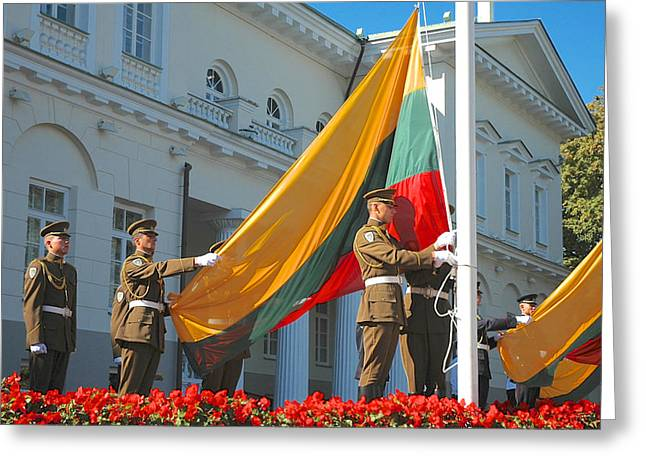 Lithuania Greeting Cards - Lithuania Flag Raising Greeting Card by Mary Lee Dereske