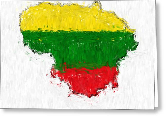 Lithuania Greeting Cards - Lithuania Painted Flag Map Greeting Card by Antony McAulay