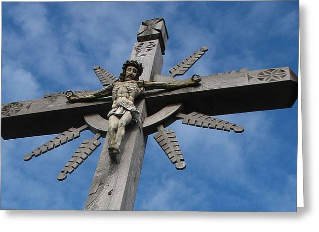 Lithuanian Crucifix 2 Greeting Card by David T Wilkinson