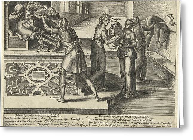 Litigation Devours Money And Property, Hendrick Goltzius Greeting Card by Hendrick Goltzius