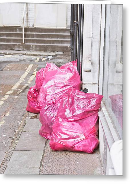 Refuse Greeting Cards - Litter bags Greeting Card by Tom Gowanlock