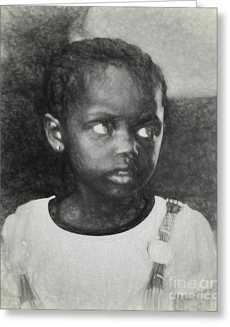 African Child Greeting Cards - Little African girl Greeting Card by Sheila Smart
