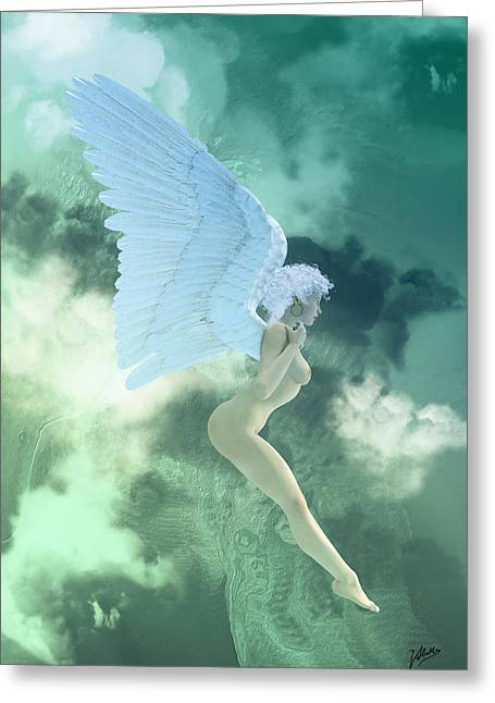 Archangel Digital Art Greeting Cards - Little Angel Blue  Greeting Card by Joaquin Abella