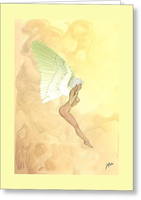 Artistic Nude Framed Prints Greeting Cards - Little angel golden Greeting Card by Quim Abella