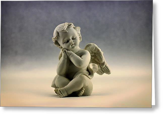 Ceramic Sculpture Greeting Cards - Little Angel Greeting Card by Mountain Dreams