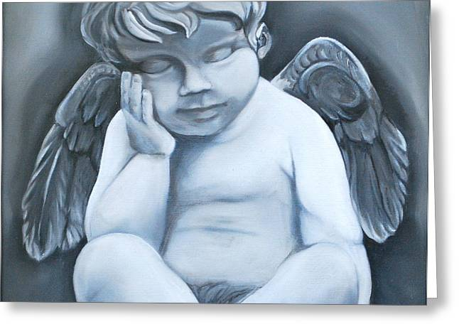Statue Portrait Paintings Greeting Cards - Little Angel Greeting Card by Stella Marin