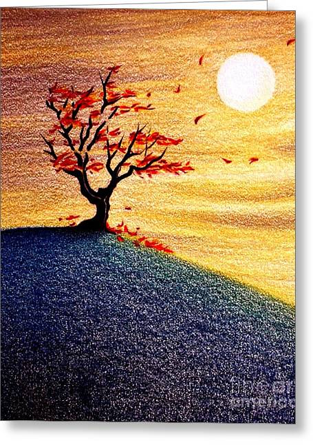 Fall Grass Drawings Greeting Cards - Little Autumn Tree Greeting Card by Danielle R T Haney