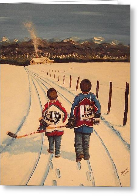 Youth Hockey Paintings Greeting Cards - Little Avs Greeting Card by Ron  Genest