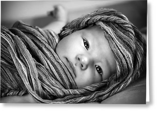 Head Wrap Greeting Cards - Little baby girl Greeting Card by Anna Omelchenko