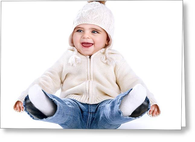 Legs Up Greeting Cards - Little baby having fun Greeting Card by Anna Omelchenko