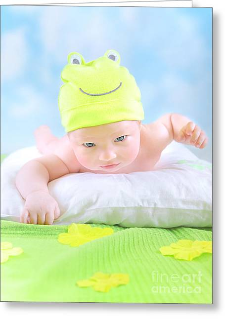 Green Flower Hat Greeting Cards - Little baby in frog costume Greeting Card by Anna Omelchenko