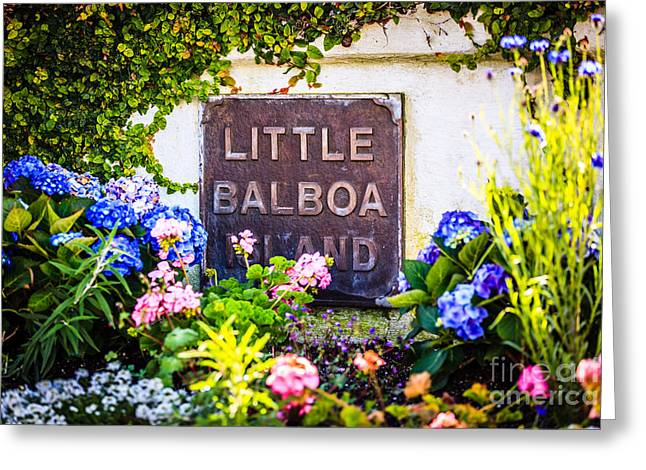 Orange Photos Greeting Cards - Little Balboa Island Sign in Newport Beach California Greeting Card by Paul Velgos