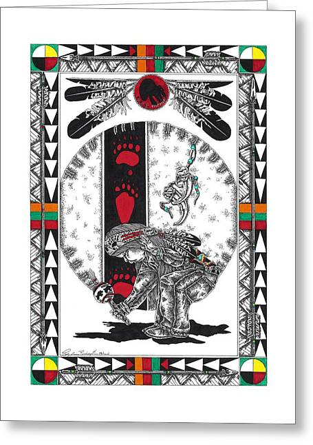 Native American Indian Medicine Wheel Greeting Cards - Little Bear Dancer Greeting Card by Louis McCollum