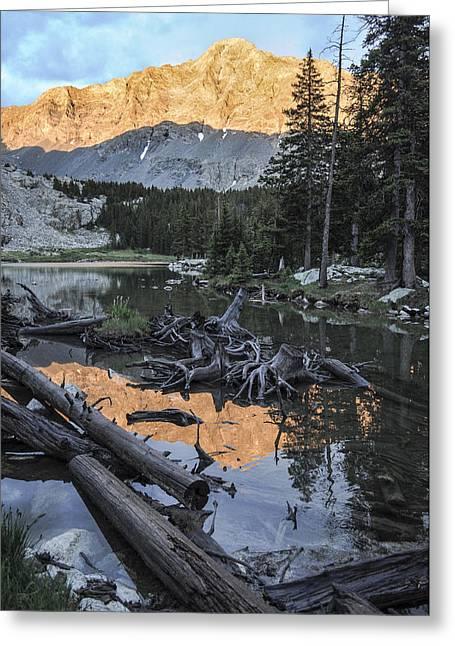 Little Bear Peak Reflection Greeting Card by Aaron Spong