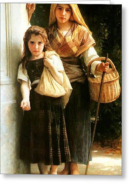 Williams Sisters Greeting Cards - Little beggars Greeting Card by William Bouguereau