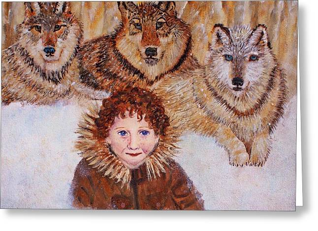 Charlotte Paintings Greeting Cards - Little Bernard and The Wolves Greeting Card by The Art With A Heart By Charlotte Phillips
