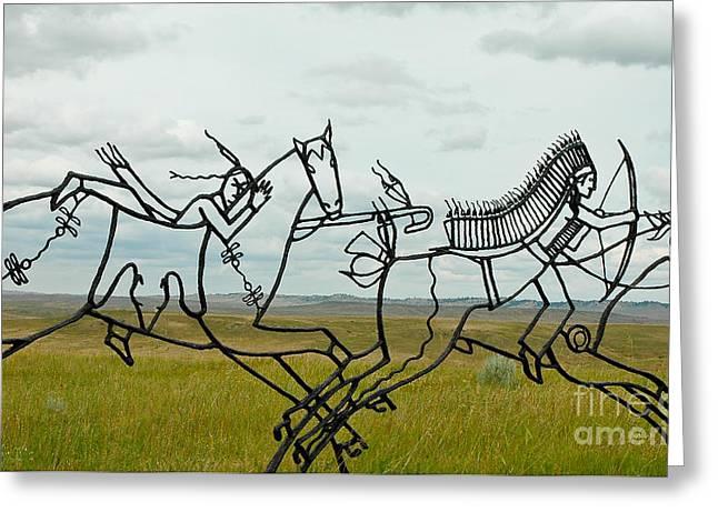 Indian Warrior Sculpture Greeting Cards - Little Bighorn Battlefield Greeting Card by Nick  Boren