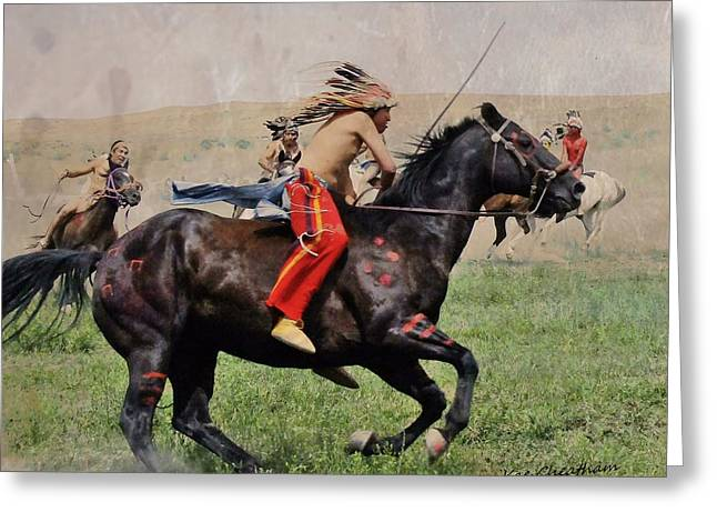 Greasy Greeting Cards - Little BigHorn Reenactment 1 Greeting Card by Kae Cheatham