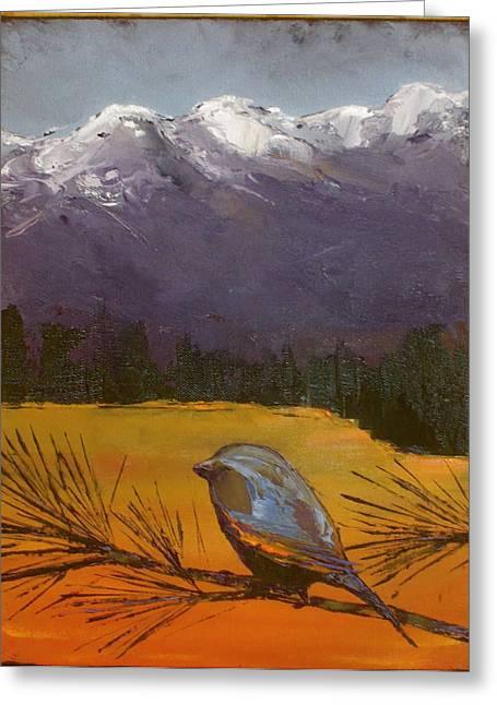 Pine Needles Paintings Greeting Cards - Little Bird #12 Greeting Card by Carolyn Doe