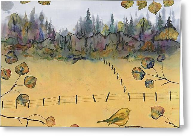 Little Bird and Fence Greeting Card by Carolyn Doe