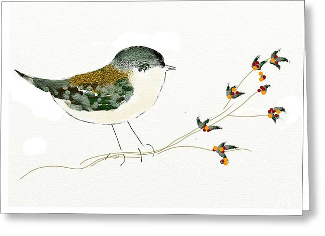 Little Bird On A Branch Greeting Card by Alexandra  Sanders