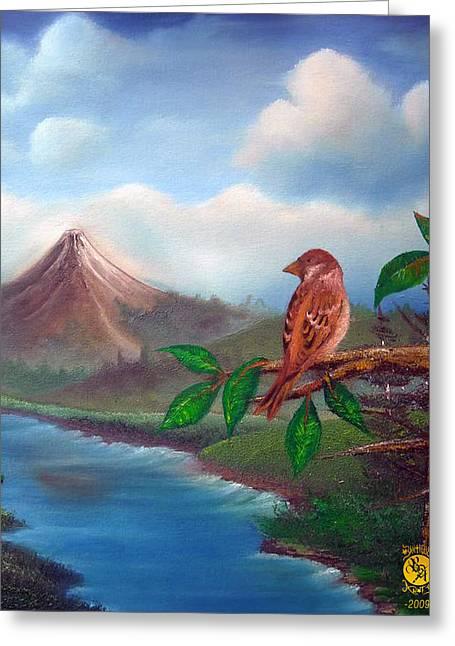 Little Bird Greeting Card by Richard Bantigue