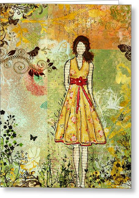Canadian Art Greeting Cards - Little Birdie Inspirational mixed media folk art by Janelle Nichol Greeting Card by Janelle Nichol
