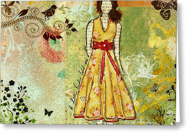 Little Birdie Inspirational mixed media folk art by Janelle Nichol Greeting Card by Janelle Nichol