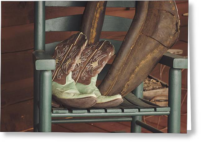 Cowgirl And Cowboy Greeting Cards - Little Bit Country Greeting Card by Heather Applegate