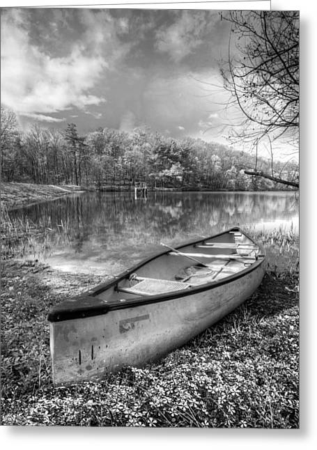 Tennessee River Greeting Cards - Little Bit of Heaven Black and White Greeting Card by Debra and Dave Vanderlaan