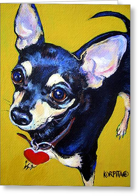 Chihuahua Portraits Greeting Cards - Little Bitty Chihuahua Greeting Card by Rebecca Korpita